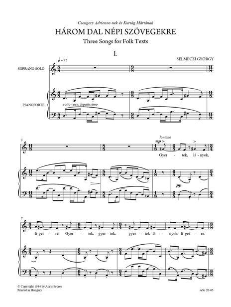 Daloskönyv I. Énekhangra és zongorára